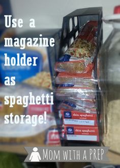 An Amazing Hack to Store and Organize Your Spaghetti Noodles in the Pantry for Food Storage   #organize #kitchentips #foodstorage