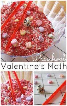 Make a simple mini sensory play activity for heart math this Valentine's Day! A fun and quick heart math counting game with fine motor skills practice.