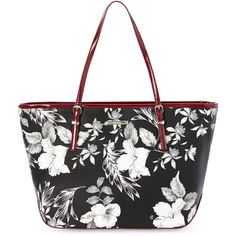 Nine West Black & White Floral It Girl Large Tote ($33) ❤ liked on Polyvore…