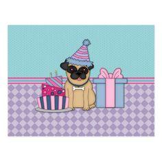 Fawn Pug Blank Birthday Invitations (4)