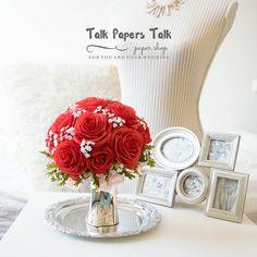 Bridal bouquet  Crepe paper flowers  Rose by TalkPapersTalk