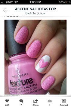 Cute heart pink nails