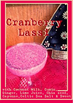 Cranberry Lassi - Delicious part of the 7 Days of Christmas Smoothies - drop by and get the recipe! Smoothie Recipes, Smoothies, Lassi, Coconut Milk, Gluten Free, Drop, Vegan, Christmas, Yule