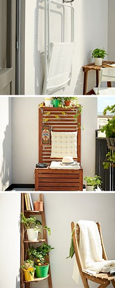 How to live large on a small balcony - combine clever storage solutions with furniture that folds away. Wall hooks and storage boxes that double as benches really help you to maximise a small space.