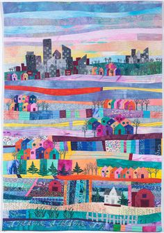 """Celebrating our Communities. 35 x 24"""",  by Elizabeth Davison     SAQA. """"This is my concept of the uniquely American metropolis."""""""