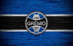 Download wallpapers Gremio, 4k, Brazilian Seria A, logo, Brazil, soccer, Gremio FC, football club, Gremio Porto Alegrense, wooden texture, FC Gremio