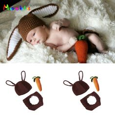 Crochet Bunny Rabbit Costume With Carrot for Newborn Photography Props Knitted Infant Baby Animal Hat Cap for Photo Shoot Newborn Photography Props, Photography Portraits, Wildlife Photography, Animal Photography, Rabbit Costume, Anime Store, Gender Neutral Baby Clothes, Animal Hats, Newborn Crochet