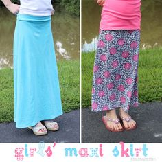 #Pattern to #sew a Maxi Skirt for girls from realcoake.com