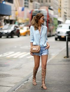 Paired with a great skirt, dress, or pair of shorts, knee-high gladiator sandals are a sure way to make any outfit more interesting. Here's how 32 real women style them. Denim Cutoff Shorts, Mini Shorts, Denim Skirt, Jean Shorts, Womens Fashion Casual Summer, Summer Outfits Women, Casual Summer Outfits, Fashion Tips For Women, Summer Wear For Women