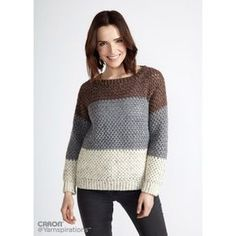 Stepping Stones Crochet Pullover | Yarnspirations | Caron Simply Soft Tweeds| Free Pattern
