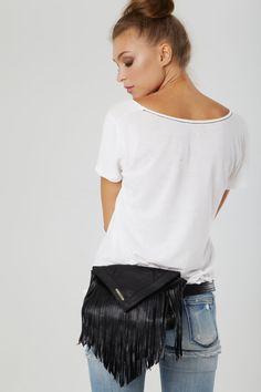 Black Fringed Leather Belt Bag/ Bum Bag/ Fanny Pack/ Festival Bag. $199.00, via Etsy.