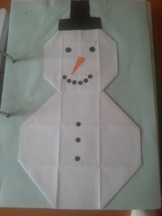 Crafts,Actvities and Worksheets for Preschool,Toddler and Kindergarten.Lots of worksheets and coloring pages. Origami Snowman, Snowman Crafts, Christmas Ribbon Crafts, Christmas Cards, Projects For Kids, Crafts For Kids, Operation Arctic, Papier Kind, Origami Easy