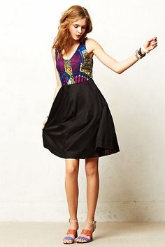 Bright print bodice with pleated black skirt - anthropologie dress