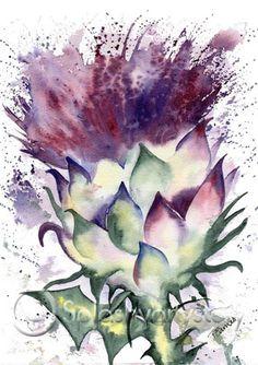 SCOTTISH THISTLE http://www.splashyartystory.com/shop/art-prints/scottish-thistle/