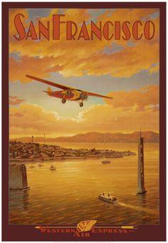 vintage airline travel poster $3.98
