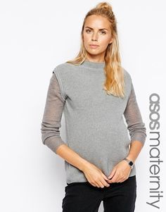 ASOS Maternity Jumper with Funnel Neck and Fine Knit Sleeve