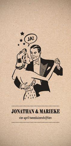Huwelijk Jonathan en Marieke - trouwkaart - voorkant - Pimpelpluis - https://www.facebook.com/pages/Pimpelpluis/188675421305550?ref=hl (# huwelijksuitnodiging - trouw - retro - koppel - dans - sterren - kaart - vintage - origineel)