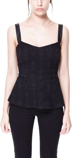 Zara Jacquard Top with Faux Leather Straps