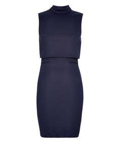 Monya navy overlay funnel neck dress Sale - Louche Sale