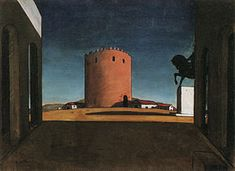 Giorgio de Chirico - The Red Tower - irrational perspective, the lack of a unified light source, the elongation of shadows, and a hallucinatory focus on objects. ominously silent and vacant settings for invisible dramas. The absence of event provokes a nostalgic or melancholy mood  feels the imminence anxiety ensues.every object has two appearances: one  seen by people in general; the other, a spectral or metaphysical appearance