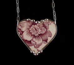 Antique purple plum toile English transferware broken china jewelry heart necklace