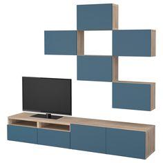 BESTÅ, TV-Möbel, Kombination, grau las. Nussbaumnachb., dunkelblau Jetzt bestellen unter: https://moebel.ladendirekt.de/wohnzimmer/tv-hifi-moebel/tv-waende/?uid=d1de8702-5865-587a-bc83-dad71dd4f164&utm_source=pinterest&utm_medium=pin&utm_campaign=boards #tvwaende #wohnzimmer #tvhifimoebel