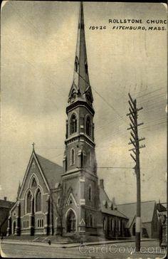 Rollstone Church Fitchburg, MA  postmarked 2 12 1909