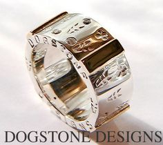 Men's Chunky Silver & 9k Gold Diamond Dogstone Ring  Contact - 0161 491 0624