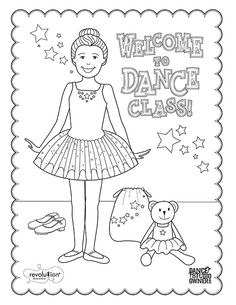 FREE Printable Dance class coloring pages for kids and teachers!