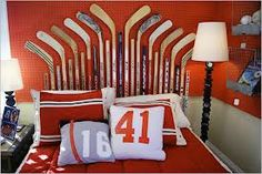 Hockey Decor ... Cool headboard & lamp & pillows!