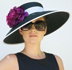 Chapeau à bord large noir. Audrey Hepburn chapeau. Chapeau, chapeau mariage, formelle Hat Ascot Hat, chapeau noir et blanc, chapeau rose, chapeau melon, chapeau habillé de l