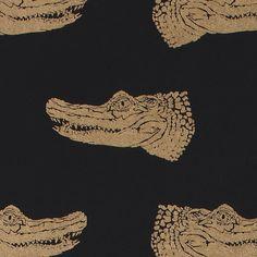 Gold Crocodiles on Black Gift Wrap