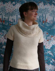 """Hollyhock"" by Winged Knits is a JBW favorite...Kristen has some Rowan Cocoon set aside for this one!"