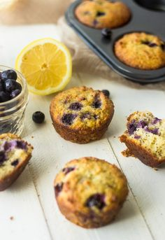 Lemon Poppyseed Blueberry Muffins {Paleo, GF, Low Fat} -- These Paleo-friendly muffins are quick, easy and loaded with fresh blueberries, lemon and poppy seeds. A great, healthy breakfast or snack.
