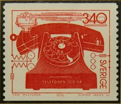 2560W - Framed Postage Stamp Art - Telefonen 100 AR - Telephone 100 years - Sweden - Communications (etsy)