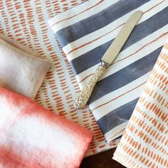 Painted Stripe Napkins in Tangerine & Gray