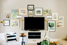 Using a gallery wall to disguise a TV: Gallerie B blog.