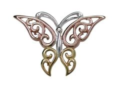 Sterling Silver & Pink & Gold Plated 22x30mm Butterfly Pendant