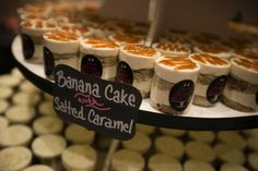These Banana & #SaltedCaramel cake shooters were absolutely delicious at the Vegas PWG Wedding Show! They would be perfect wat a dessert bar for your #Vegaswedding!  #VegasPWGShow #weddingdessert #weddingcake #delicious #Iwantmore
