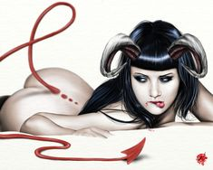 "Devil Pin-Up Girl | Tattoo Ideas & Inspiration - Pinups | Pete Tapang - ""Lure Of Lamia"""