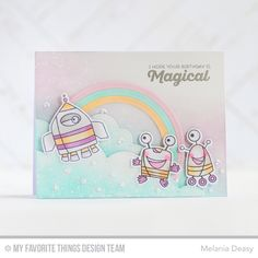Out of This World, Rainbow of Happiness, Out of This World Die-namics, Stitched Cloud Edges Die-namics, Stitched Rainbow Die-namics - Melania Deasy  #mftstamps