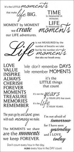 These quotes about special moments could be just the thing you need to add to your next precious scrapbook page. You can try replicating these using fonts on your computer, or if you're into hand lettering this could be excellent hand lettering practice. Scrapbook Quotes, Scrapbook Titles, Scrapbooking Layouts, Scrapbook Cards, Birthday Scrapbook Pages, Scrapbook Letters, Scrapbook Sketches, Scrapbook Stickers, The Words