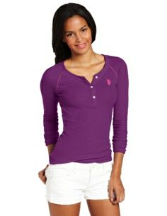 Juniors Thermal Henley Small pony logo on left chest Solid Henley Womens Sports Fashion, Sport Fashion, Long Sleeve Henley, Long Sleeve Shirts, Tuxedo T Shirt, Thermal Henley, Henleys, Blank T Shirts, Shirt Maker