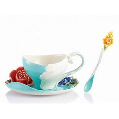 Franz Porcelain Collection Versailles Garden Rose Cup Saucer Spoon Set FZ02608