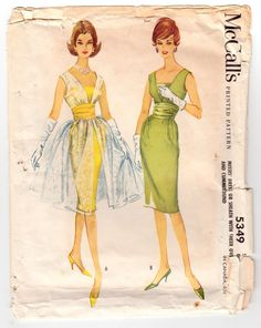 "Vintage Sewing Pattern Ladies Cocktail Dress Sheath and Overdress McCall's 5349 36"" Bust. $49.00, via Etsy."