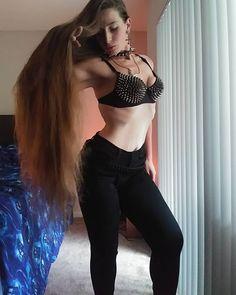 Inside me is a living god, and she trembles the earth beneath her feet. #longhair #hairsincebirth #superlonghair #naturalhair #undyedhair #straighthair #hairporn #spikedcollar #hourglassfigure #beyourowngod #asabovesobelow