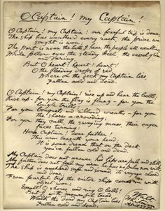 "walt whitman s handwritten poem ""as of forms never published in  o captain my captain essay catalog of the walt whitman literary manuscripts in the pierpont"