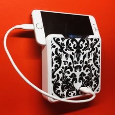 Glamsockets Decorative Wall Mount Surge Protector with 3 Outlets, Dual USB Charging Ports and Phone Holder - USB Charging Center/Multi Function Wall Tap (Versailles) Charging Center, Wall Taps, Side Tables Bedroom, Black And White Design, Beautiful Patterns, Phone Holder, Outlets, Versailles, Damask