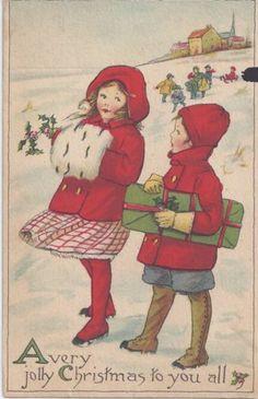 Antique Vintage Christmas Victorian Snow Winter Boy & Girl 1915 Postcard