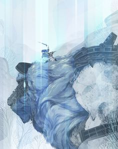 shadow of the colossus fanart blue video game team ico